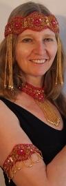 4-delige juwelen set Cleopatra: hoofdband + armbanden + choker, ROZE GOUD versierd met kraaltjes en pailletten - 4-piece fully beaded and sequinned Cleopatra  jewelry set PINK GOLD : headband + choker + armpieces