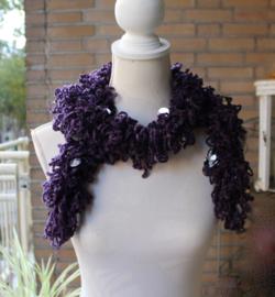 Gehaakte glitter boa / sjaal PAARS met ZILVEREN hologram pailletten - Small - braided glitter boa / shawl PURPLE, SILVER hologram sequins decorated
