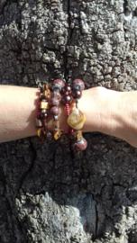 Spiraal armband Ibiza stijl BRUIN TINTEN, ZILVER kleur  - Spiral Beaded bracelet Ibiza fashion style SHADES OF BROWN, SILVER color
