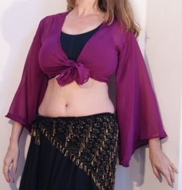 Gipsy Vleermuistopje chiffon, knooptopje met wijde mouwen PURPER PAARS  MAUVE- Gypsy Butterfly tie top with very wide sleeves REDDISH PURPLE