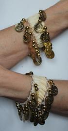Muntjes armband CRÈME / ROOM KLEUR  GOUD - Small Medium - Coin bracelet CREAM GOLD