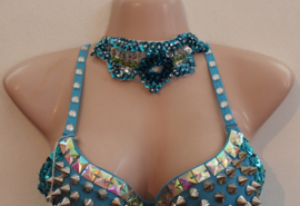 Pailletten halssnoer TURQUOISE GROEN ZILVER choker - Fully sequinned choker necklace TURQUOISE GREEN SILVER