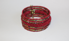 3D Armband Indian Tribal kraaltjes ROOD GOUD - one size - 3D bracelet Indian Tribal RED GOLD