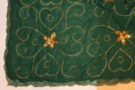 Sluier rechthoekig DONKER GROEN chiffon, volledig versierd met GOUDEN pailletten, India stijl - 100 cm x 190 cm - Rectangle veil, DARK GREEN chiffon, fully decorated with GOLDEN sequins, Indian style