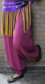 Harembroek chiffon half transparant PAARS (PURPER PAARS, Pruim kleurig) met klittenbandsluiting aan de enkels - Saroual - One Size - Harempants PLUM color PURPLE chiffon slightly transparent