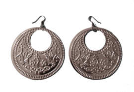 Saidi oorbellen ZILVER kleur Egypte met hierogliefen symbolen - XL diameter 7,5 cm - Saidi earrings SILVER color Egypt with pharaonic symbols
