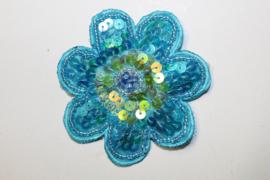 Pailletten applicatie / broche TURQUOISE bloem - diameter 8 cm - Fully sequinned Flower application / brooch