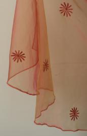 Sluier halfrond transparant organza ROOD met GOUD GLANS doorzichtig met bloemen - 255 cm x 118 cm - Flowered RED with GOLDEN GLOW organza veil halfcircle transparent