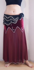Rok met fluwelen bovenkant met punten en transparante BORDEAUX chiffon onderkant versierd met SILVER pailletten kralen - M Medium L Large XL - WINERED /DEEP RED Skirt with velvet hips and transparent chiffon leg part decorated with SILVER beads and sequin