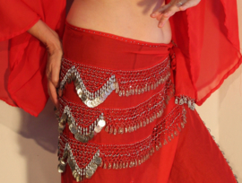 Sarong gordel ROOD,  ZILVER versierd met haakwerk,  ZILVER - XXLarge, XXXL - Sarong Rood nr3 - Chiffon Sarong hipscarf RED, crocheted decorated with SILVER beads and coins