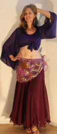 Vleermuistopje chiffon, knooptopje met wijde mouwen DONKER PAARS semi transparant - Butterfly tie top with wide sleeves  DARK PURPLE semi transparent