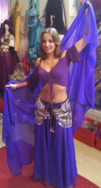 2-delig setje Cirkelrok + sluier paars -M, L, XL, XXL - 2-piece set Circle skirt + veil purple
