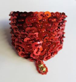 Pailletten en kralen armband ROOD - 19 cm omtrek - Fully sequinned bracelet RED