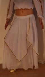 Rok orientaals tulpmodel WIT GOUD 3-lagen  - Small Medium - 3-layer Skirt oriental tulip WHITE GOLD