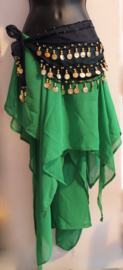 Asymmetrisch semi transparant GROEN chiffon tribal fusion punten rokje - Small / Medium - Asymmetrical semi transparent chiffon points skirt GREEN