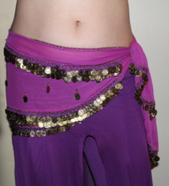 Tribal fusion fantasy gordel licht PAARS chiffon met glimstreepje en GOUD kleurige  muntjes - Tr13 - Tribal fusion fantasy hipbelt PURPLE, GOLD colored  coins decorated