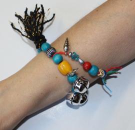"""""""Voel en Geluids"""" Armband nr3 met grote kralen, elastisch - one size - Elastic big beads bracelet to """"touch and listen nr3"""""""