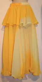 Rok bicolor chiffon 1 1/2 laag GEEL ombré - one size - Bellydance skirt 1 1/2 layer gradient chiffon YELLOW ombré
