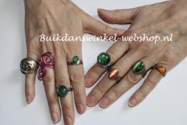 ZILVEREN ring met groene AGAAT kristal halfedelsteen - maat 57-58 size - Ring SILVER with green AGATE crystal gemstone