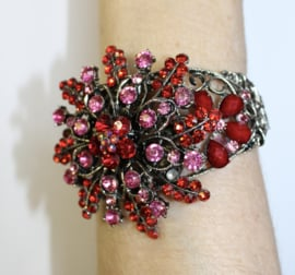 "Crystal sparkle glitter scharnier armband ""Ster Bloem 2"" ROOD ROZE ZILVER - Strass hinge bracelet  ""Star Flower 2"" RED PINK SILVER diamanté"