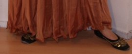 2-delig setje van : 2-lagen rok met golvende zoom + sluier KOPER BRUIN KLEUR - S, M, L -  2-piece set : 2 layer skirt + veil COPPER BROWN COLOR