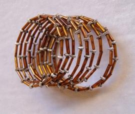 Spiraal armband met kraaltjes voor meisjes bruin met zilver - diameter 5 cm