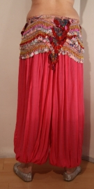 Harembroek katoen met glimstreepje FUCHSIA FEL ROZE ROSE - Harempants cotton BRIGHT PINK