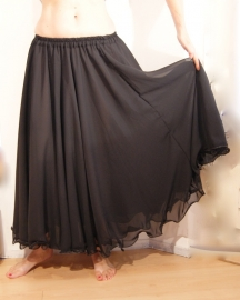 2-lagen rok met golvende zoom ZWART- S/M/L of M/L/XL - 2 layer skirt BLACK