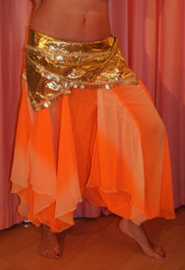 ORANJE wavepants bicolor  harembroek - one size fits Small Medium, Large - ORANGE chiffon gradient wavepants harempants