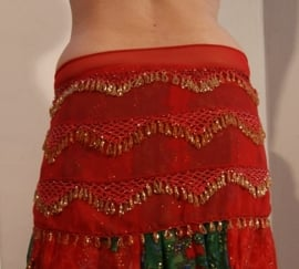 Kralengordel met haakwerk ROOD GOUD - Beaded belt on RED chiffon, GOLD beaded
