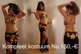 Buikdanskostuum AUBERGINE DONKER PAARS fluweel versierd met GOUD , smalle rok met 1 split - Bellydance costume DEEP PURPLE velvet GOLD decorated, straight skirt with 1 slit
