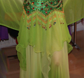 2-delig setje : Rok + Sluier bicolor chiffon FEL GROEN / GEELGROEN - 2-piece : BRIGHT GREEN skirt + rectangle veil set gradient chiffon ombré