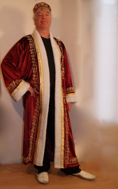 Sultan / Sheik / Sjeik luxe harem jas BORDEAUX ROOD met WITTE kunst bont rand -  one size - Sheik overcoat de luxe WINERED / BURGUNDY / DARK RED artificial fur rimmed WHITE