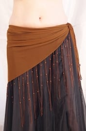 Driehoek sjaal met franjes LICHT BRUIN - Triangle shawl with fringe BROWN