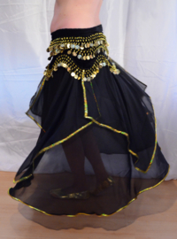 Rok orientaals tulpmodel ZWART GOUD - Small Medium - bellydance skirt BLACK GOLD rimmed