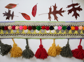 Tribal fusion belt met pompons, kwasten, studs en authentieke munten - Tr3 - Tribal Fusion hipbelt with authentic coins, tassels, pom poms, studs