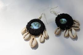 Tribal Fusion Hippie chic Cowry Schelpen spiegeltjes oorbellen ZWART - Tribal Fusion Hippy chick Cowry Shell mirror Earrings BLACK
