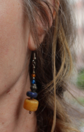 Tibet oorbellen met originele kralen ZILVER , LAPIS LAZULI - Tibet1 - Tibetan earrings with authentic beads LAPIS LAZULI, SILVER