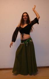 2-delig setje Cirkelrok + sluier olijfgroen - L,  XL,  XXL -  2-piece set Circle skirt + veil olive green
