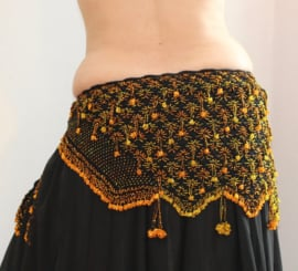 Gehaakte kralengordel ZWART GOUD ORANJE - L, XL - Beaded hipbelt BLACK GOLD ORANGE - Ceinture danse orientale crochetée NOIR OR ORANGE