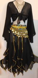 Gipsy punten rok ZWART met GOUDEN paillettenrand, semi transparant - Gypsy points skirt BLACK, GOLDEN sequin rimmed, semi transparent