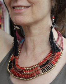 Farao1 halsketting Farao stijl : kraaltjes halssnoer ROOD, ZWART, GOUD - Pharaonic jewel, beaded necklace,  RED, BLACK, GOLDEN Farao1