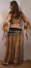 Tijgerset : Harembroek en knooptopje tijgermotief BEIGE ZWART - 2-pce bellydance tiger costume : Tie top + harempants