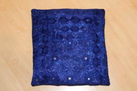 kussensloop India Bohemian INDIGO BLAUW met spiegeltjes en borduursel vierkant 38 cm - 38 cm square Indian Boho pillowcase INDIGO DARK BLUE, embroidery and mirrors decorated