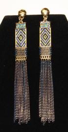 Beweeglijke Cleopatra Oorbellen met kettinkjes GROEN BLAUW GOUD kleurig,  11 cm hoog - Farao2 - Earrings with small chains 11 cm heigh, BLUE GREEN GOLD colored