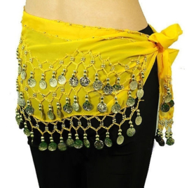 Meisjes / Jongens KIND buikdansgordel op chiffon met haakwerk en muntjes GEEL PAARS TURQUOISE ZWART GROEN BLAUW ROZE  ZILVER GOUD - XXS XS - Girls  / boy CHILD bellydance scarf, coinbelt YELLOW PURPLE BLACK TURQUOISE GREEN BLUE PINK  SILVER GOLD