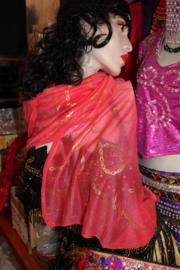 ROZE sjaaltje met een vleugje ORANJE / ZALMROZE rechthoekig met GOUDEN ketting motief opdruk - SALMON PINK shawl, rectangular, with GOLDEN chains print
