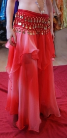 Rok bicolor chiffon 1 1/2 laag ombré ROOD - one size fits S M L XL - Bellydance skirt gradient chiffon 1 1/2 layer ombré RED