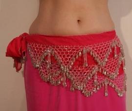 Kralengordel ROZE ZILVER uit Egypte - Beaded belt oriental dance from Egypt PINK SILVER