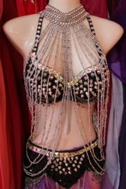 Kralen sieraad halssnoer ZILVER  buikdans gogo dans showdance Burlesque - Beaded necklace bellydance showdance Burlesque gogo dance SILVER